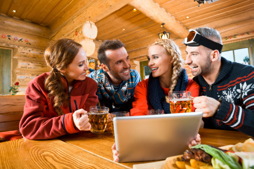 Friends After Skiing Stock Photo - Download Image Now