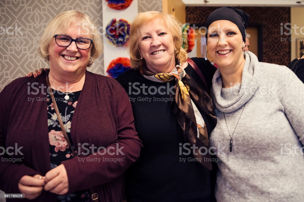 Friends and family celebration for cancer patient. stock photo
