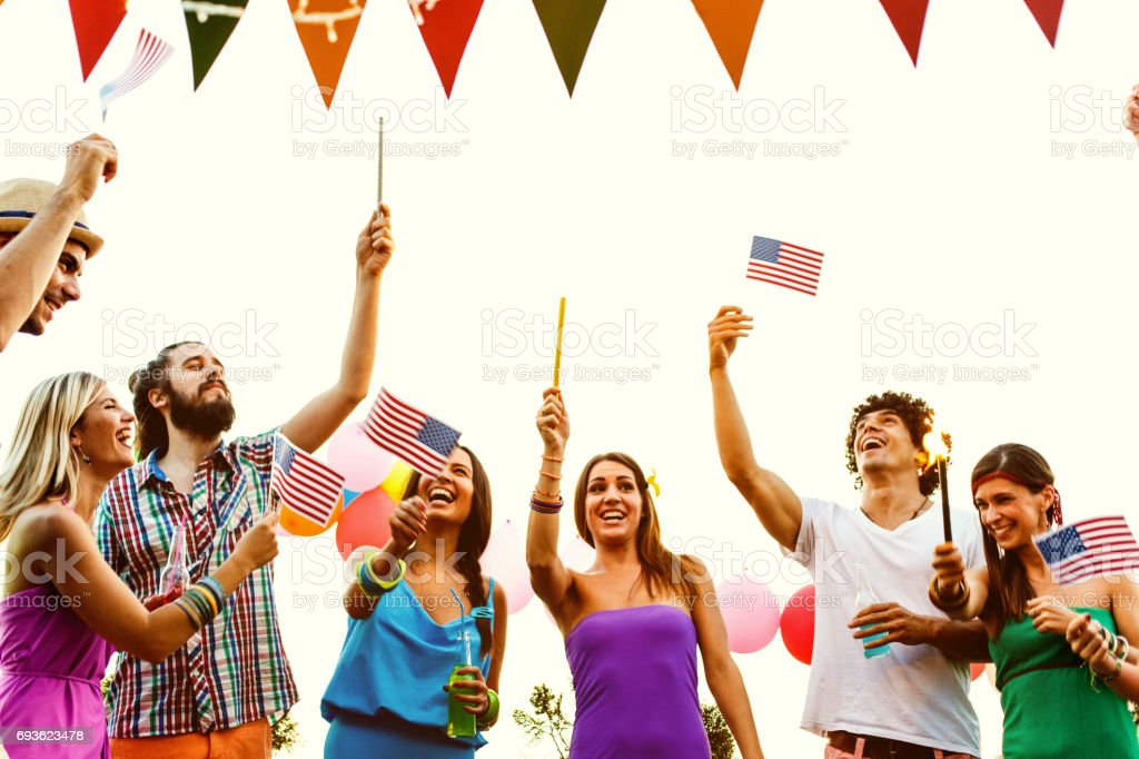 Friends at 4th of July party stock photo
