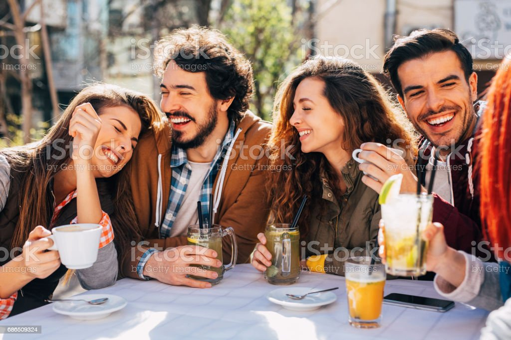 Friends at a restaurant foto stock royalty-free