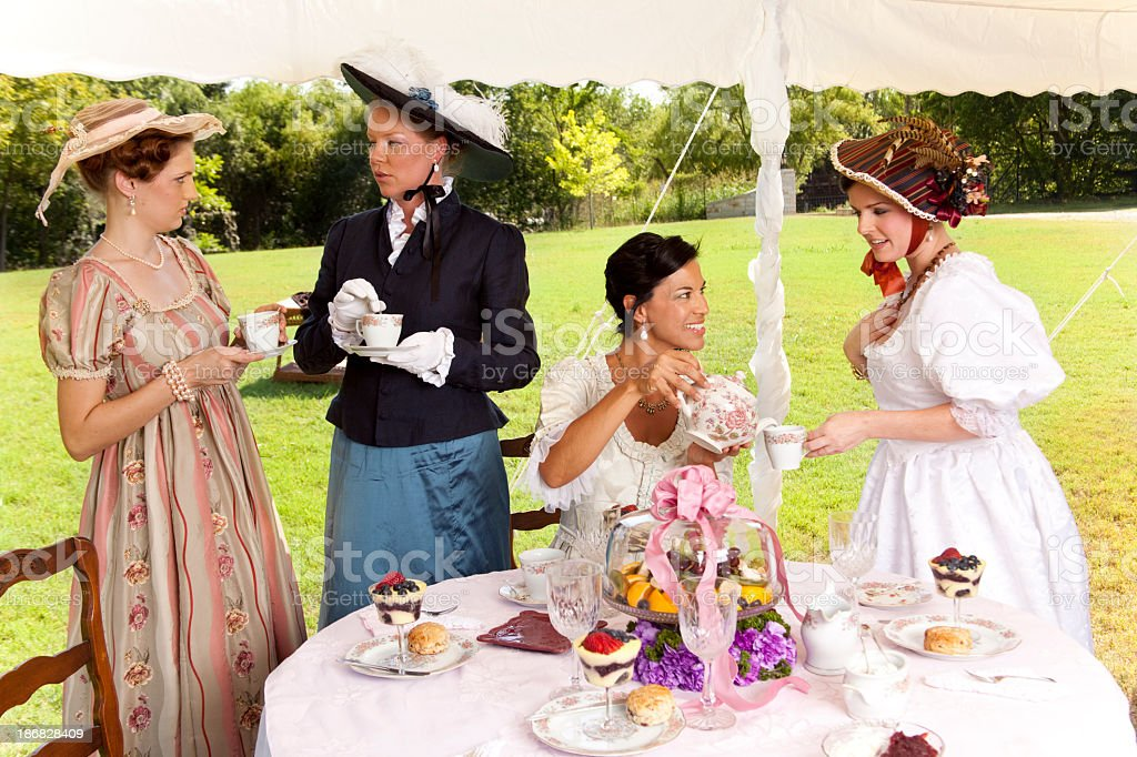 Friends At A Victorian Tea Party Royalty Free Stock Photo