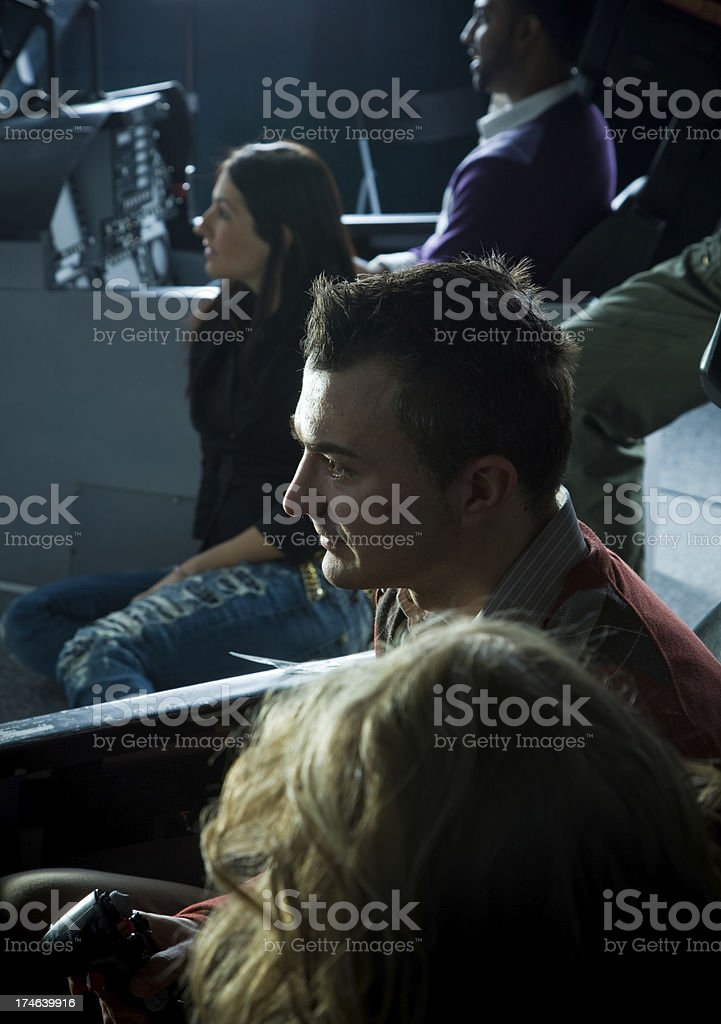 Friends at an arcade royalty-free stock photo