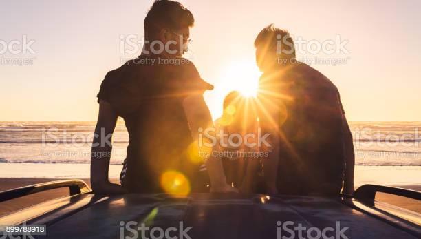 Photo of Friends at beach enjoying sunset.