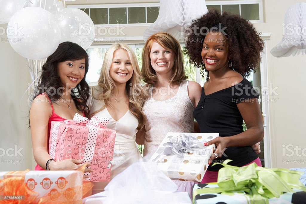 Friends at bridal shower stock photo