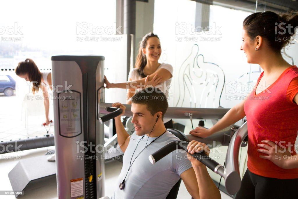 Friends at gym royalty-free stock photo