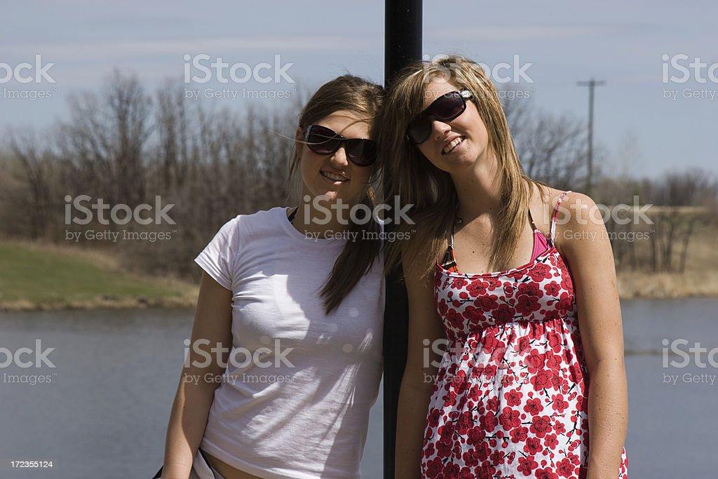 Friends at Lake royalty-free stock photo