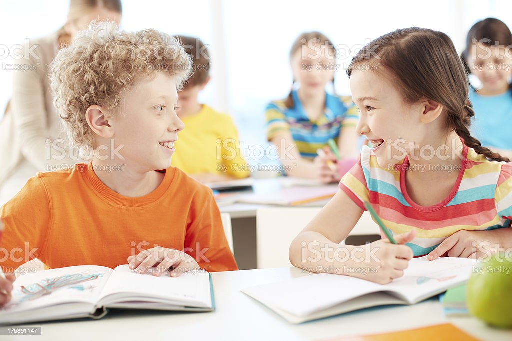 Friends at lesson royalty-free stock photo
