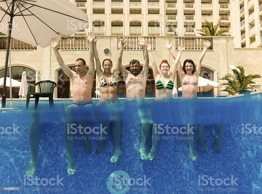 friends at pool royalty-free stock photo