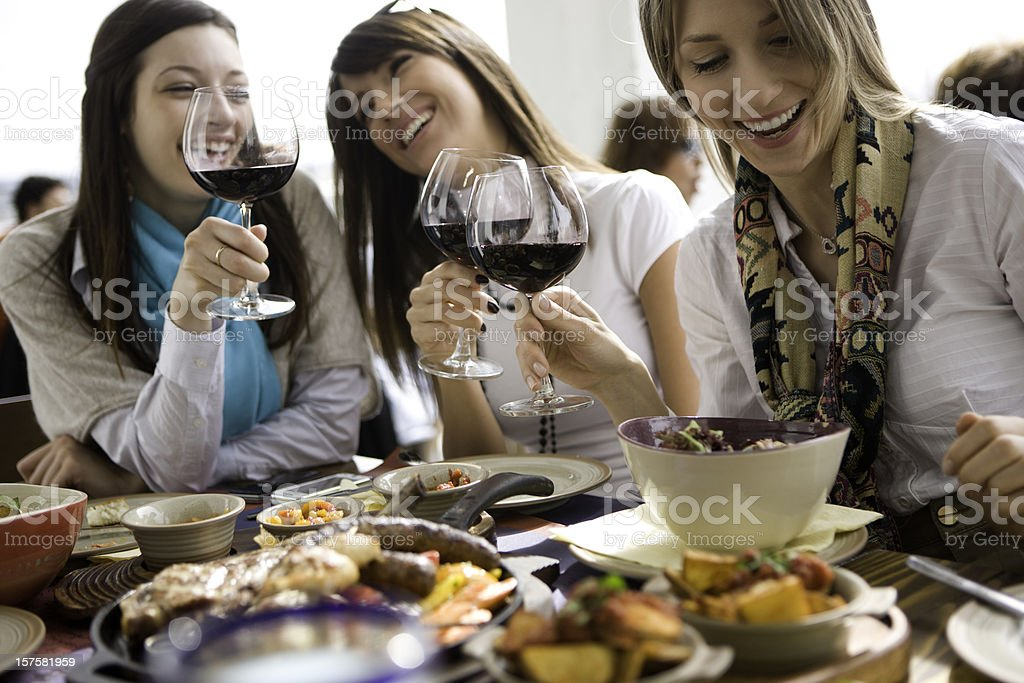 Friends at restaurant royalty-free stock photo