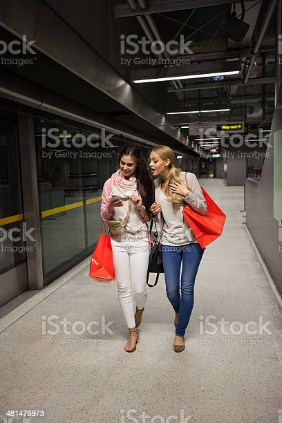 Friends At Subway Station Stock Photo - Download Image Now