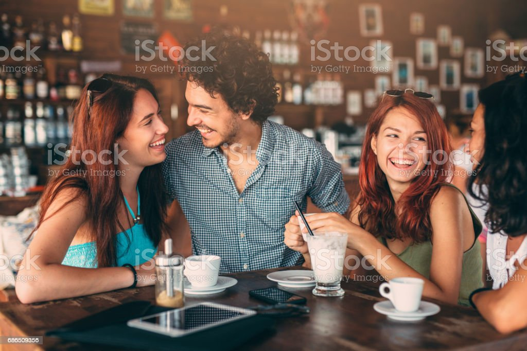 Friends at the cafe foto stock royalty-free