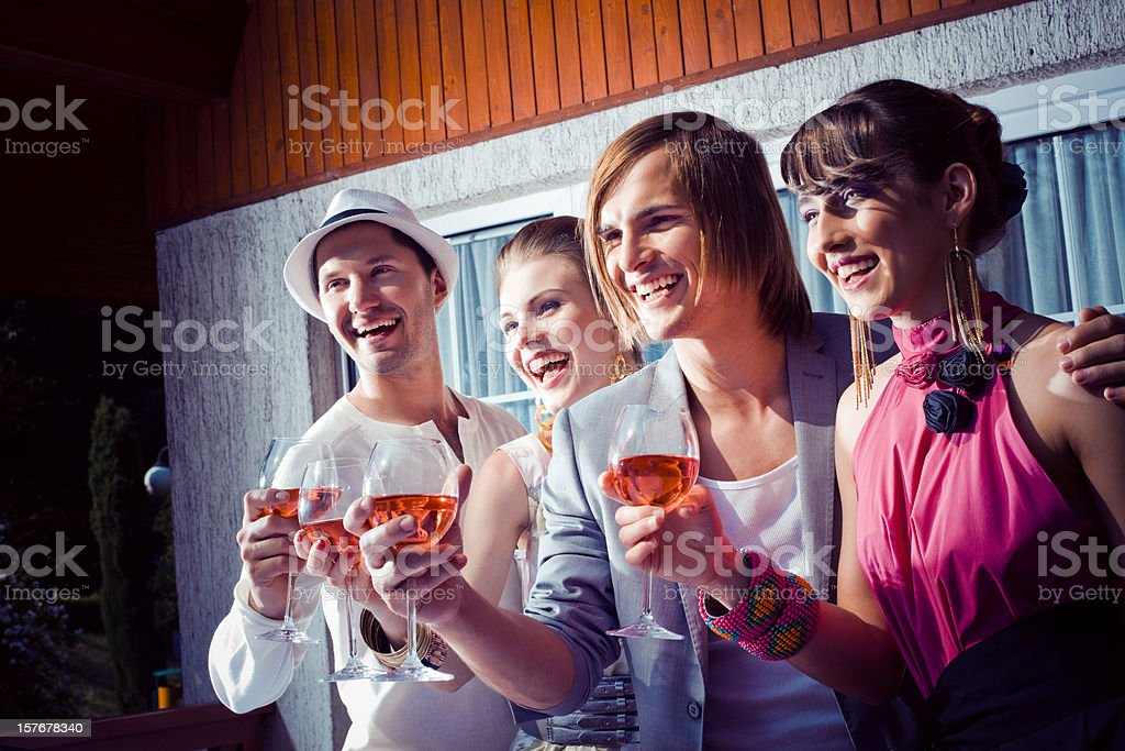Friends at the outdoor party royalty-free stock photo