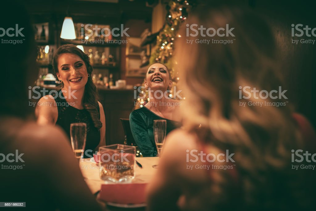 Friends at the restaurant stock photo