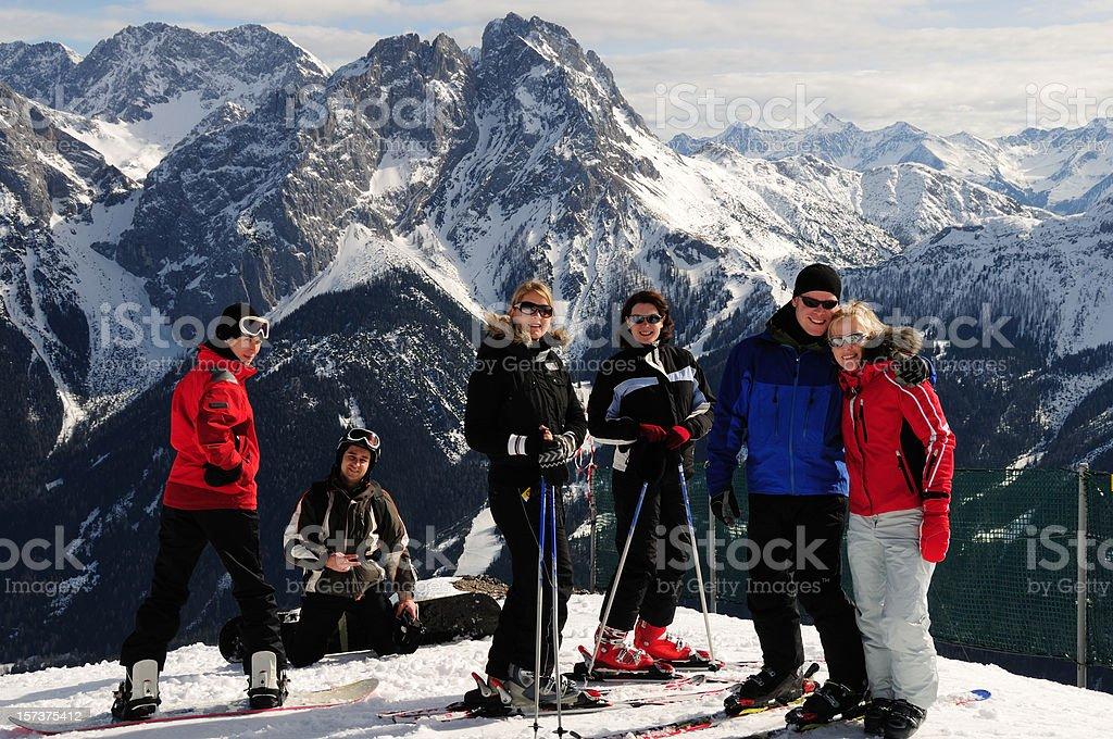Friends at the ski resort, close up royalty-free stock photo