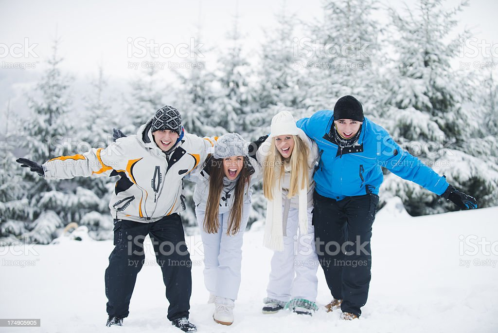 Friends at winter vacation royalty-free stock photo
