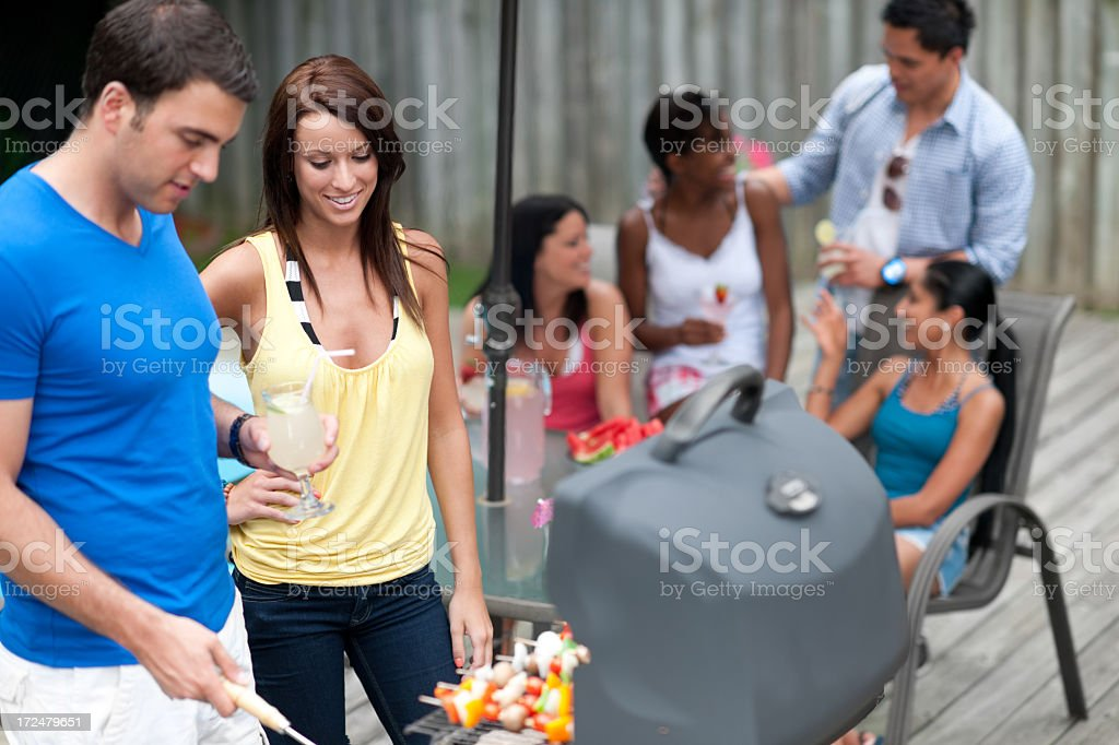 Friends Barbecuing royalty-free stock photo