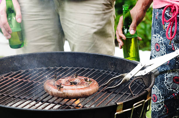 Friends, bbq and beers stock photo