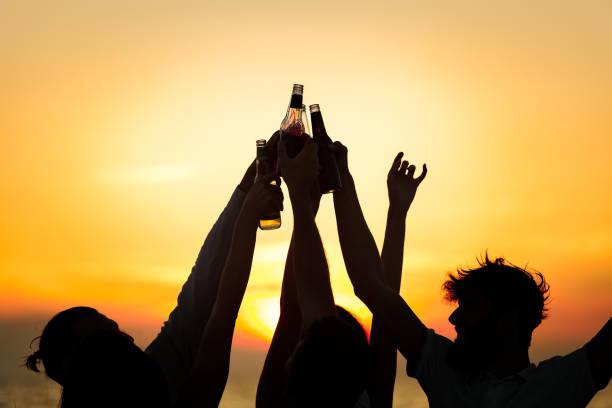 Friends Beach Party Drinks Toast Celebration Concept stock photo