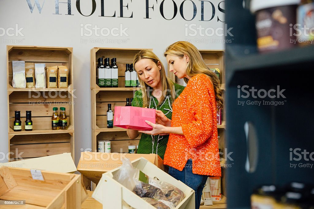 Friends Buying Whole Foods stock photo