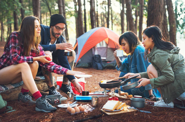 friends camping in the forest - camping stock photos and pictures