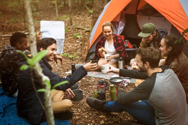 friends camping in the forest together - camping stock photos and pictures