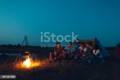 istock Friends camping together. 481467050