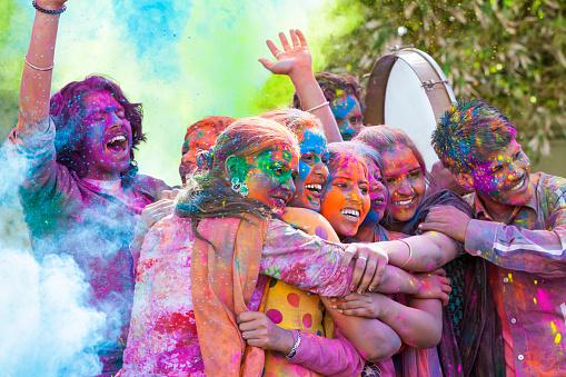 Friends Celebrating Holi Festival in India