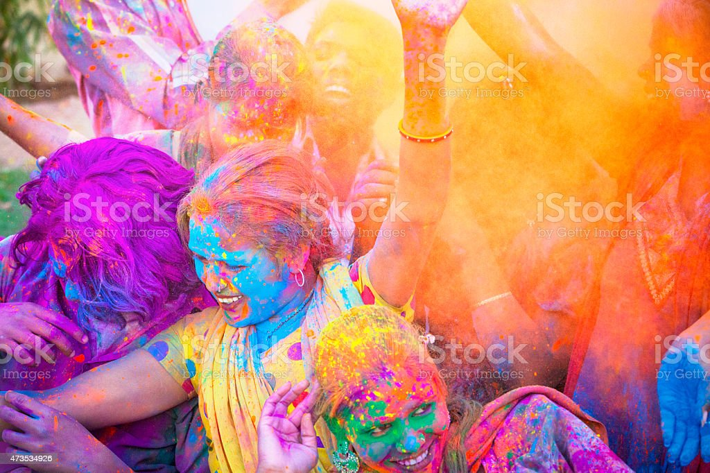 Friends Celebrating Holi Festival in India stock photo