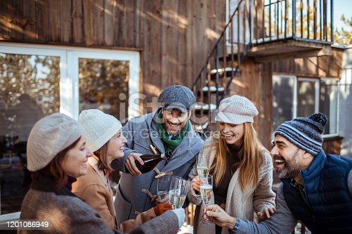 Close up of a group of friends celebrating during the winter holidays with champagne