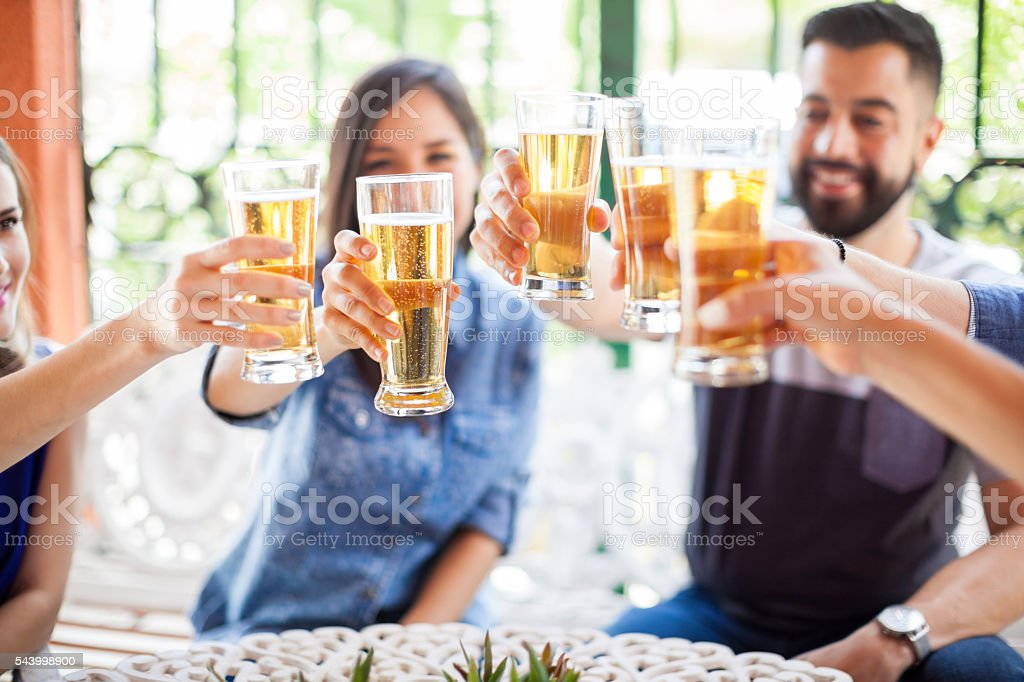 Friends celebrating with a toast – Foto