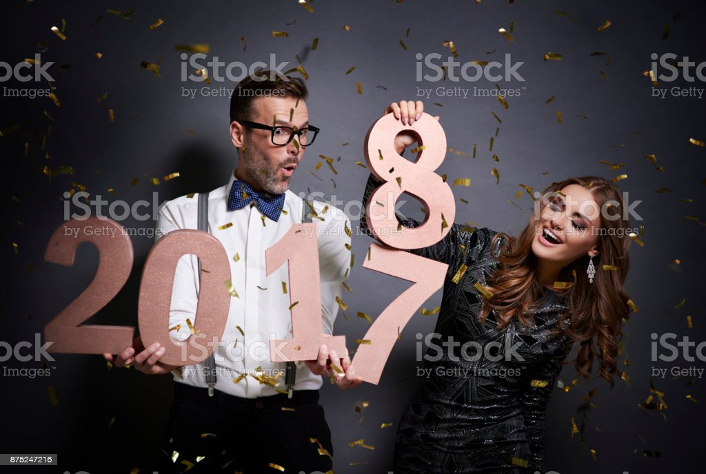Friends changing number old year stock photo