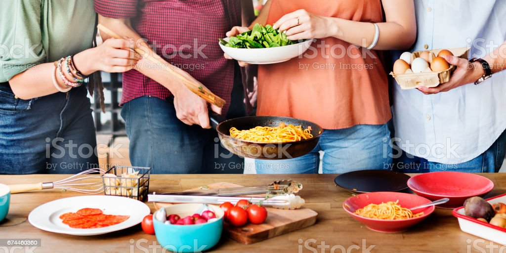 Friends Chef Cook Cooking Concept stock photo