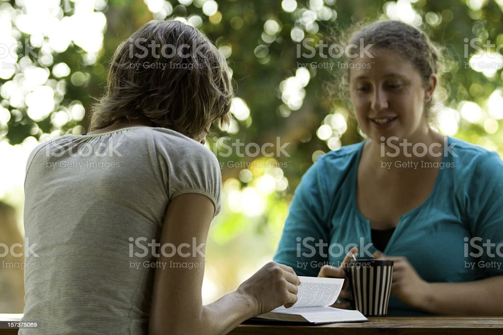 Friends, Coffee, and Discussing a Book royalty-free stock photo