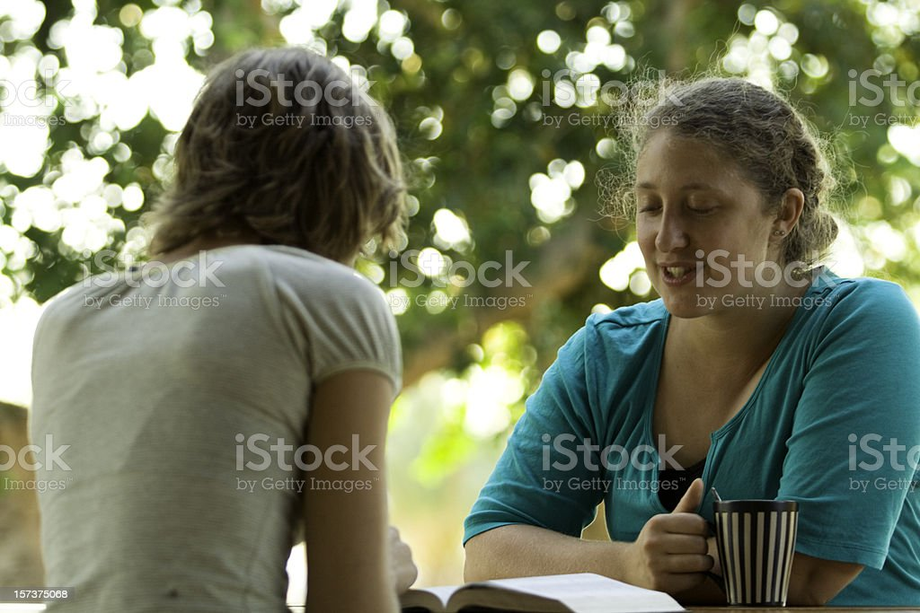 Friends, Coffee, and Studying School Work royalty-free stock photo
