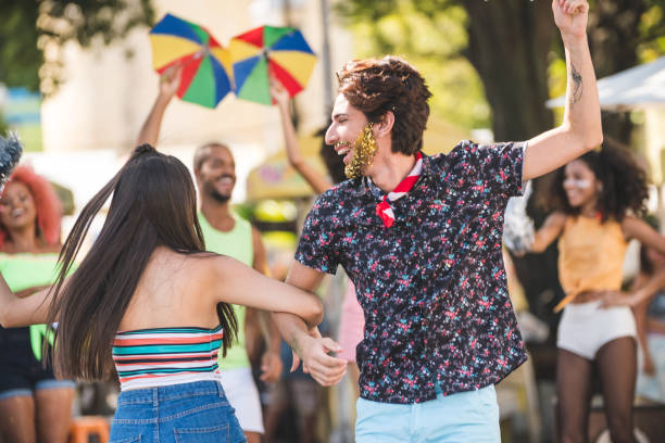friends dancing on the street - dance group stock photos and pictures