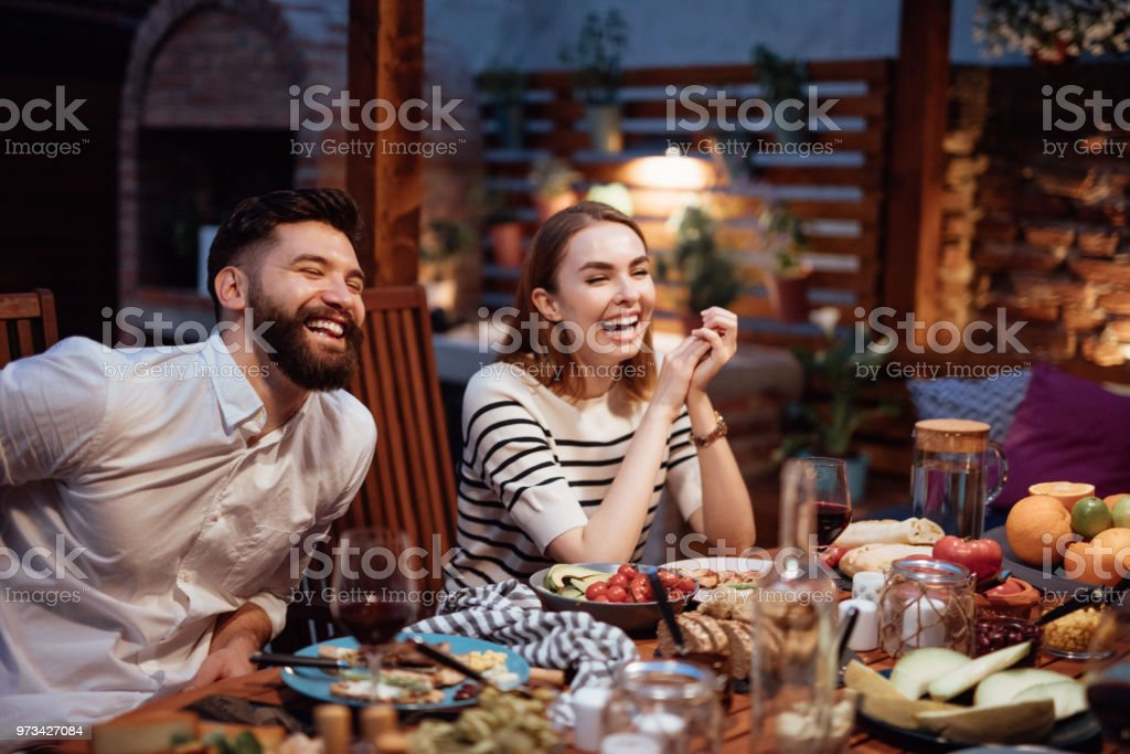 Friends Dining Outdoor stock photo