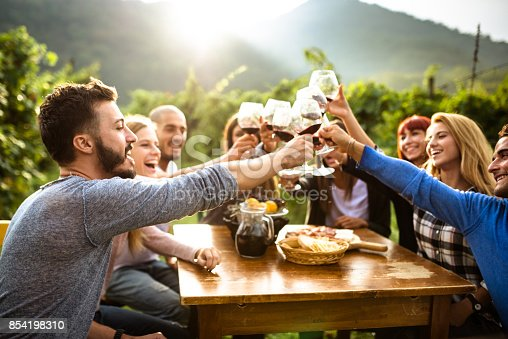 istock friends doing a wine tasting 854198310