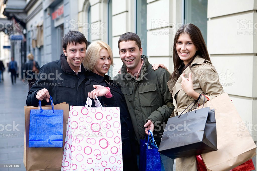 friends doing shopping royalty-free stock photo
