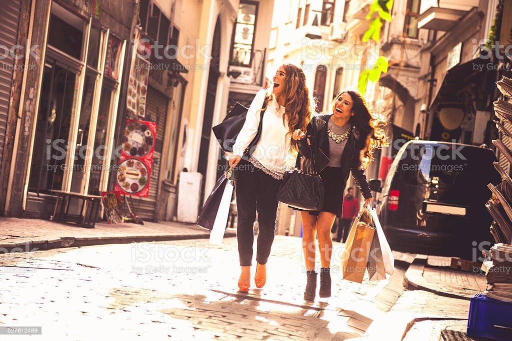 Friends doing shopping stock photo