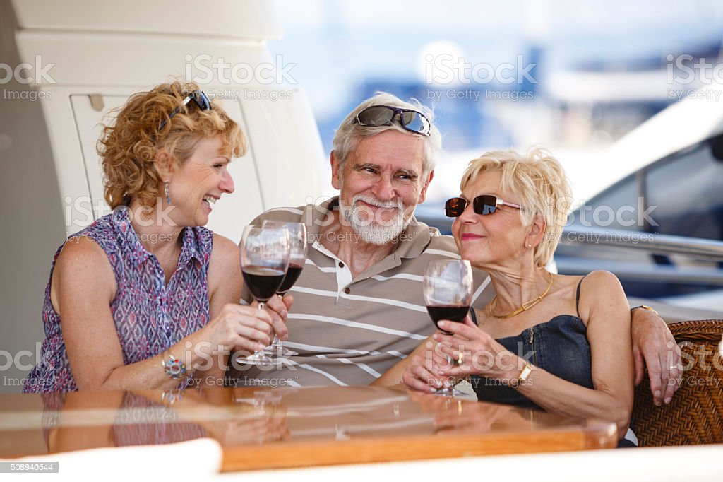 Friends drinking wine on vacations stock photo