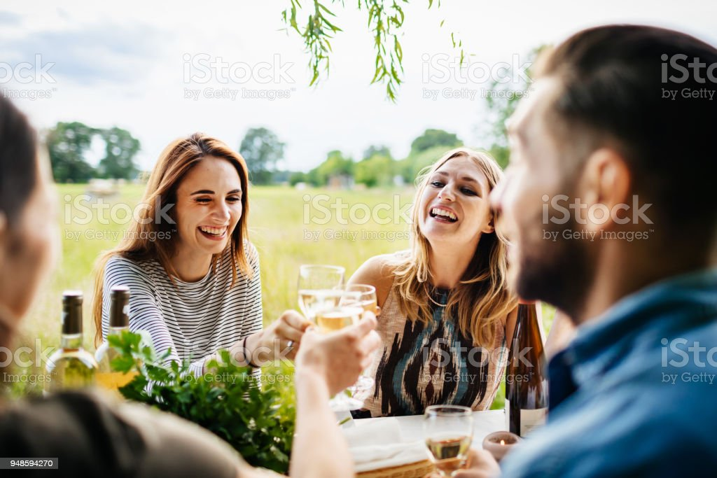 Friends Drinking Wine Together Having Lunch Outdoors stock photo