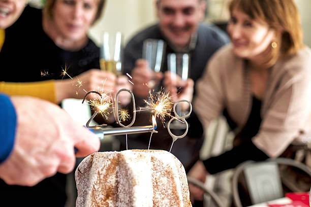 Friends During 2018 New Year's Eve Party in Italy stock photo