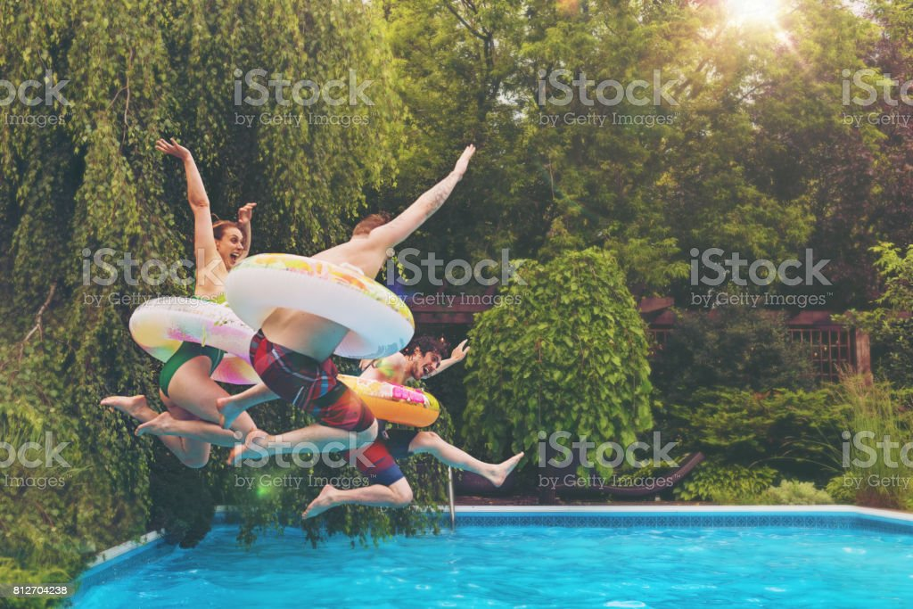 Friends during a summer day stock photo