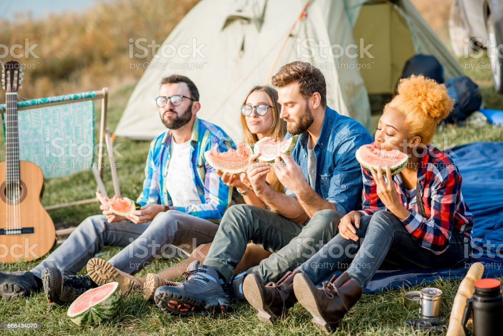 Friends during the outdoor recreation stock photo