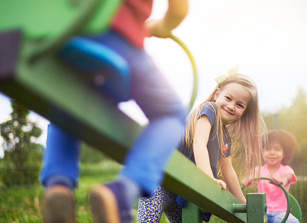 friends during the play in fresh air - recess stock photos and pictures