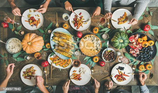 istock Friends eating at Thanksgiving Day table with vegetarian snacks 1066977840