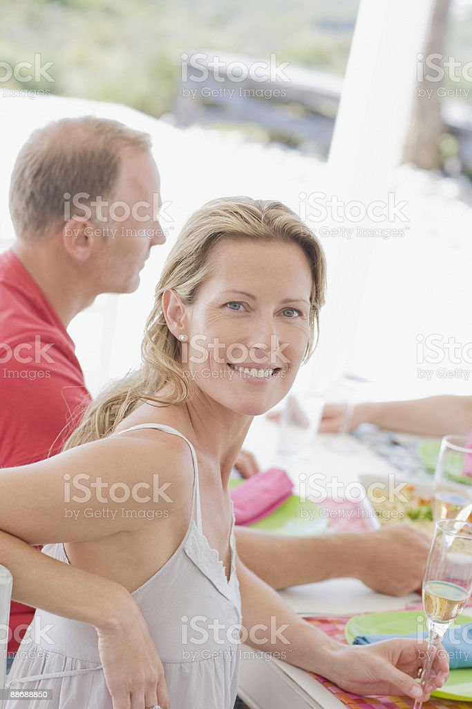 Friends eating breakfast together royalty-free stock photo
