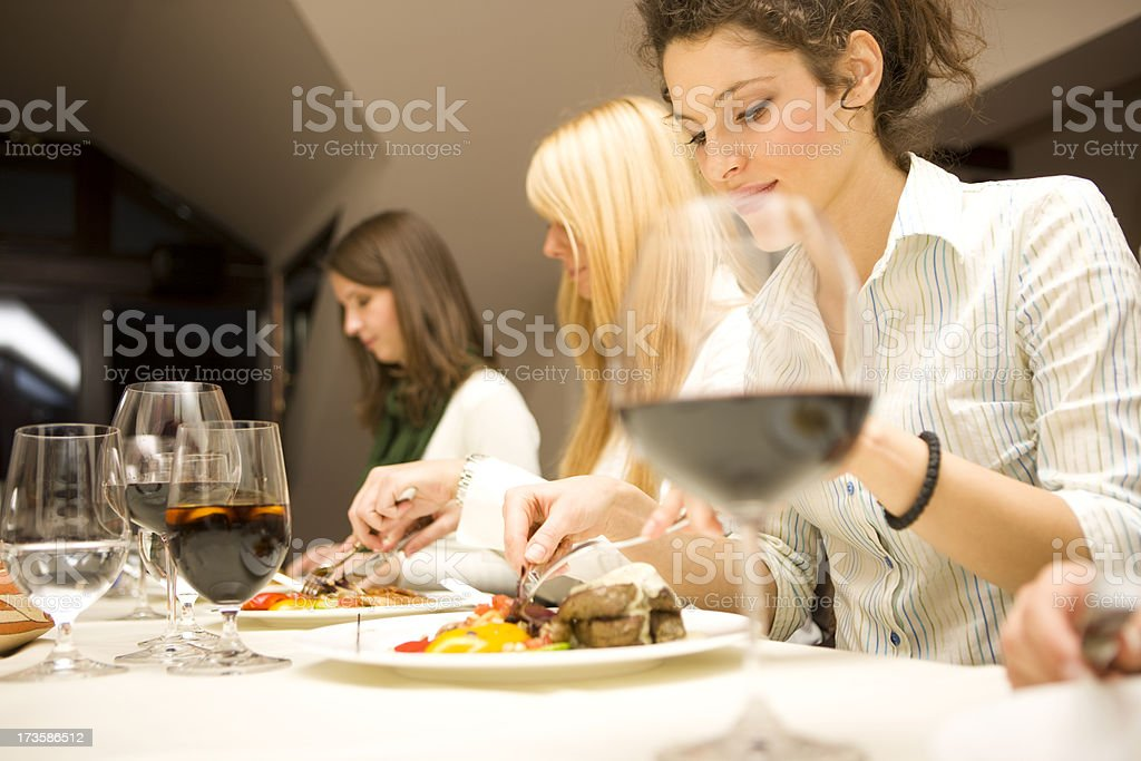 Friends eating royalty-free stock photo