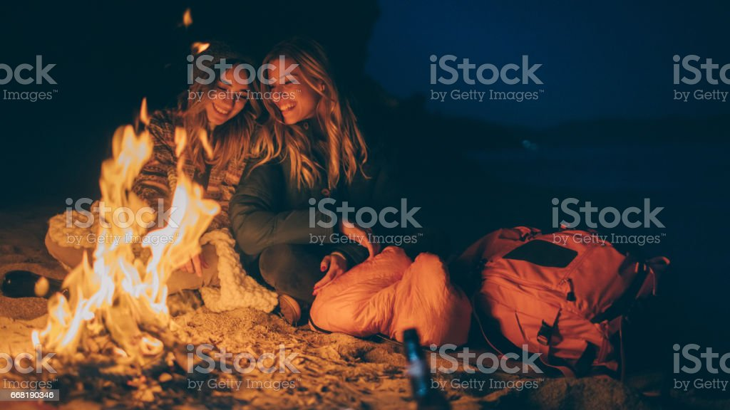 Friends enjoy evening on the beach by the log fire圖像檔