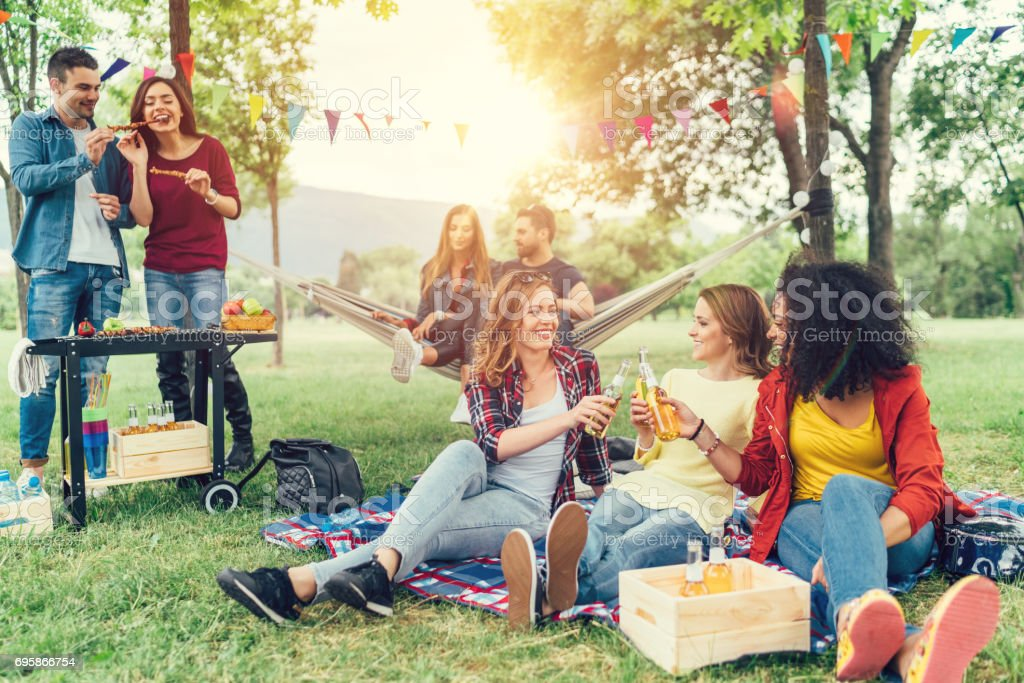 Friends enjoying a barbecue in the park stock photo